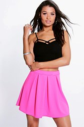 Boohoo Box Pleat Textured Skater Skirt Pink