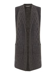Lily And Me Cable Knit Longline Cardigan Grey