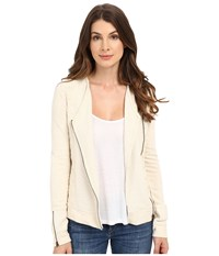 Lucky Brand Embroidered Moto Jacket Natural Women's Coat Beige
