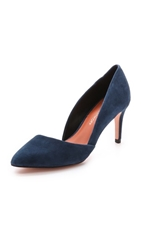 Rebecca Minkoff Brie Mid Heel Suede Pumps New Storm Blue