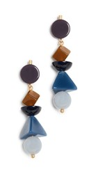Madewell Acrylic Shape Stack Earrings Blue Shadow Multi