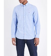 Tommy Hilfiger Classic Fit Cotton And Linen Blend Shirt Nautical Blue