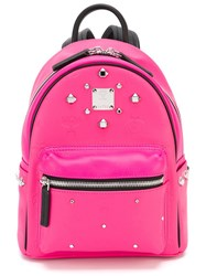 Mcm Studded Small Sized Backpack Pink And Purple