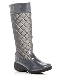 Khombu Alex Metallic Quilted Waterproof Wedge Boots Pewter