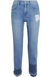 Sjyp Steve J And Yoni P Cropped Distressed Mid Rise Straight Leg Jeans Mid Denim