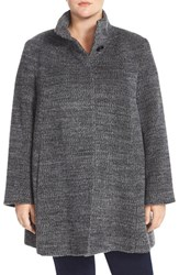 Plus Size Women's Fleurette Stand Collar Wool And Alpaca Blend A Line Coat