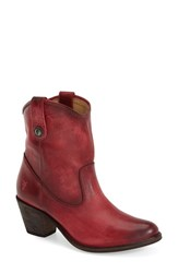 Women's Frye 'Jackie Button' Short Bootie Burgundy Leather