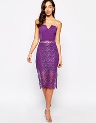 Jarlo Arabella Dress With Lace Hem Purple