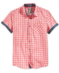 Guess Men's Short Sleeve Check Shirt Sunkist Coral Multi