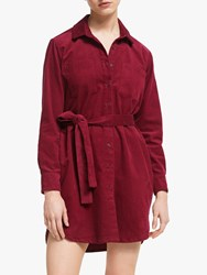 People Tree Franca Cord Shirt Dress Red