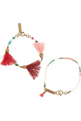 Isabel Marant Set Of Two Gold Plated Bone And Multi Stone Beaded Bracelets Red