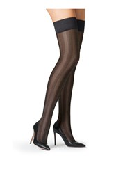 Fogal Striped Stay Up Stockings Black