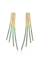 Joanna Laura Constantine Criss Cross Rainbow Gold Plated Brass And Cubic Zirconia Statement Earrings Blue