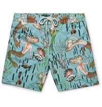 Loewe Paula's Ibiza Mid Length Mermaid Print Swim Shorts Turquoise