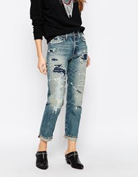 Denim And Supply Ralph Lauren Denim And Supply By Ralph Lauren Larak High Rise Boyfriend Jeans With Destroy And Patching Larack Multi