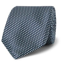 Hugo Boss 7.5Cm Silk Jacquard Tie Blue