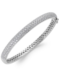 Arabella Swarovski Zirconia Pave Bangle Bracelet In Sterling Silver 5 Ct. T.W. Clear