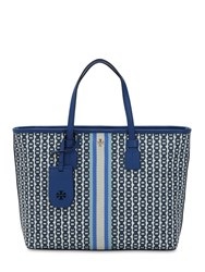 Tory Burch Small Printed Canvas Tote Bag Blue