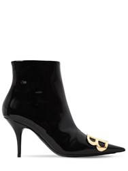 Balenciaga 80Mm Bb Patent Leather Ankle Boots Black