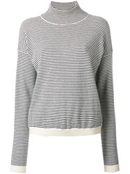 Mih Jeans High Neck Striped Jumper Nude Neutrals