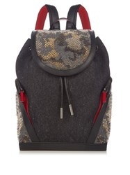 Christian Louboutin Explorafunk Felt And Spike Embellished Backpack Grey Multi