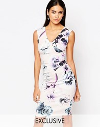 Lipsy Floral Bodycon Pencil Dress Nude Floral