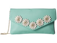 Jessica Mcclintock Arielle Flower Applique Envelope Clutch Teal Clutch Handbags Blue