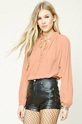 Forever 21 Ruffled Button Front Blouse Blush