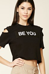 Forever 21 Be You Graphic Raw Cut Top Black White