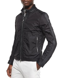 Moncler Daquin Quilted Front Zip Nylon Moto Jacket Black