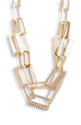 Stella Ruby Geometric Hammered Chain Necklace Gold
