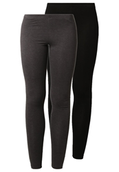 Zalando Essentials 2 Pack Leggings Black Dark Grey Melange