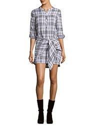 Saks Fifth Avenue Red Checked Three Fourth Sleeve Dress Black White