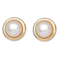 A B Davis 9Ct Yellow Gold Freshwater Pearl Stud Earrings White
