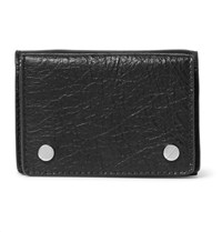 Balenciaga Arena Mini Textured Leather Trifold Cardholder Black