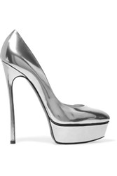 Casadei Glossed Leather Platform Pumps Gunmetal