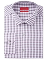 Alfani Men's Fitted Performance Grape Gingham Dress Shirt Only At Macy's