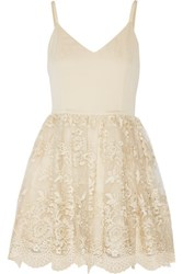 Alice Olivia Julianne Ballerina Crepe De Chine And Embroidered Tulle Dress Gold