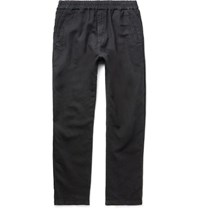 Folk Linen And Cotton Blend Drawstring Trousers Black