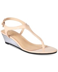 Callisto Spring Thong Wedge Sandals Women's Shoes Nude