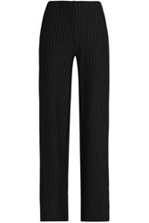Bailey 44 Imperial Pinstriped Stretch Jersey Wide Leg Pants Black