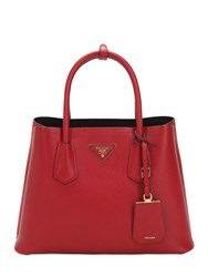 Prada Saffiano Leather Top Handle Bag Red Black