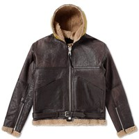 Nigel Cabourn Authentic Hand Painted Dropzone Sheepskin Jacket Brown