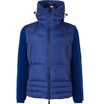 Moncler Grenoble Quilted Panelled Stretch Fleece Hooded Down Ski Jacket Blue
