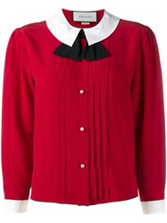 Gucci Peter Pan Collar Blouse Red