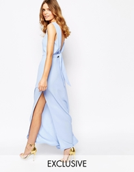 Goldie Over Exposed Maxi Dress With Open Back Midblue