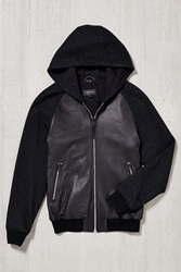Mackage Gibson Blocked Leather Hooded Jacket Black