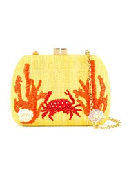 Serpui Embroidered Clutch Yellow And Orange