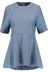 Proenza Schouler Frayed Chambray Top Blue