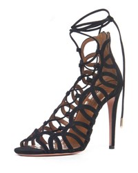 Aquazzura Ooh Lala Caged Suede Sandal Black